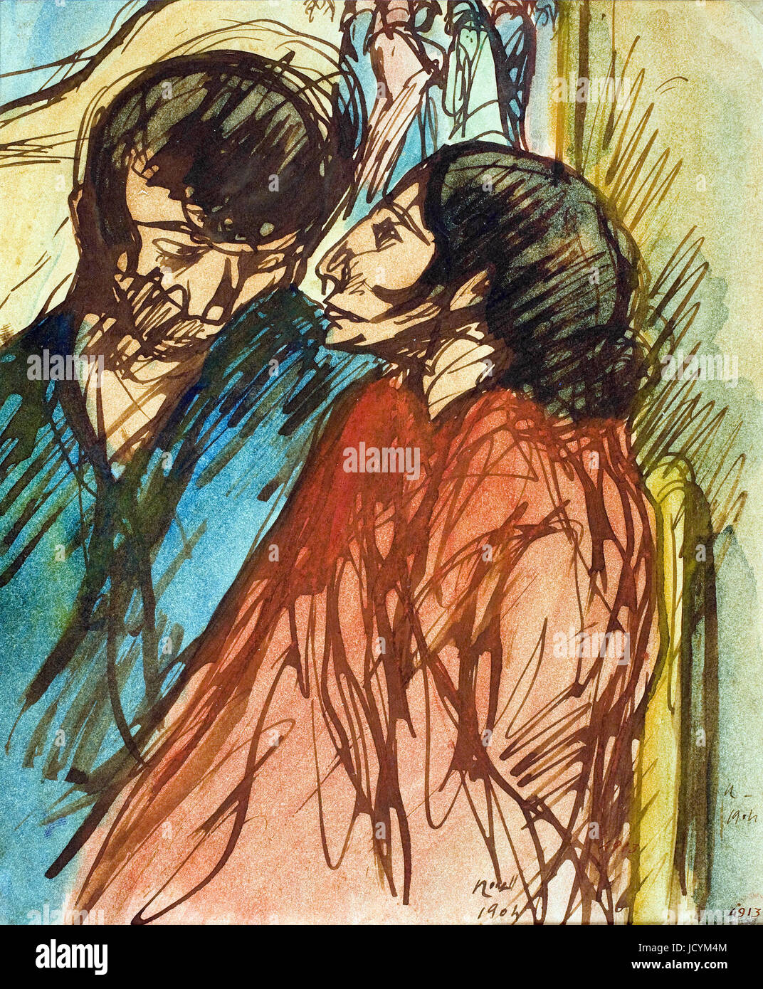 Isidre Nonell, Gypsy Couple 1904 Drawing, pencil and watercolor on paper. Museu Nacional d'Art de Catalunya, - Stock Image
