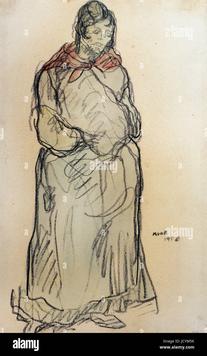 Isidre Nonell, Gypsy Standing 1906 Oil on canvas. Drawing, pencil and watercolor on paper. Museu Nacional d'Art - Stock Image