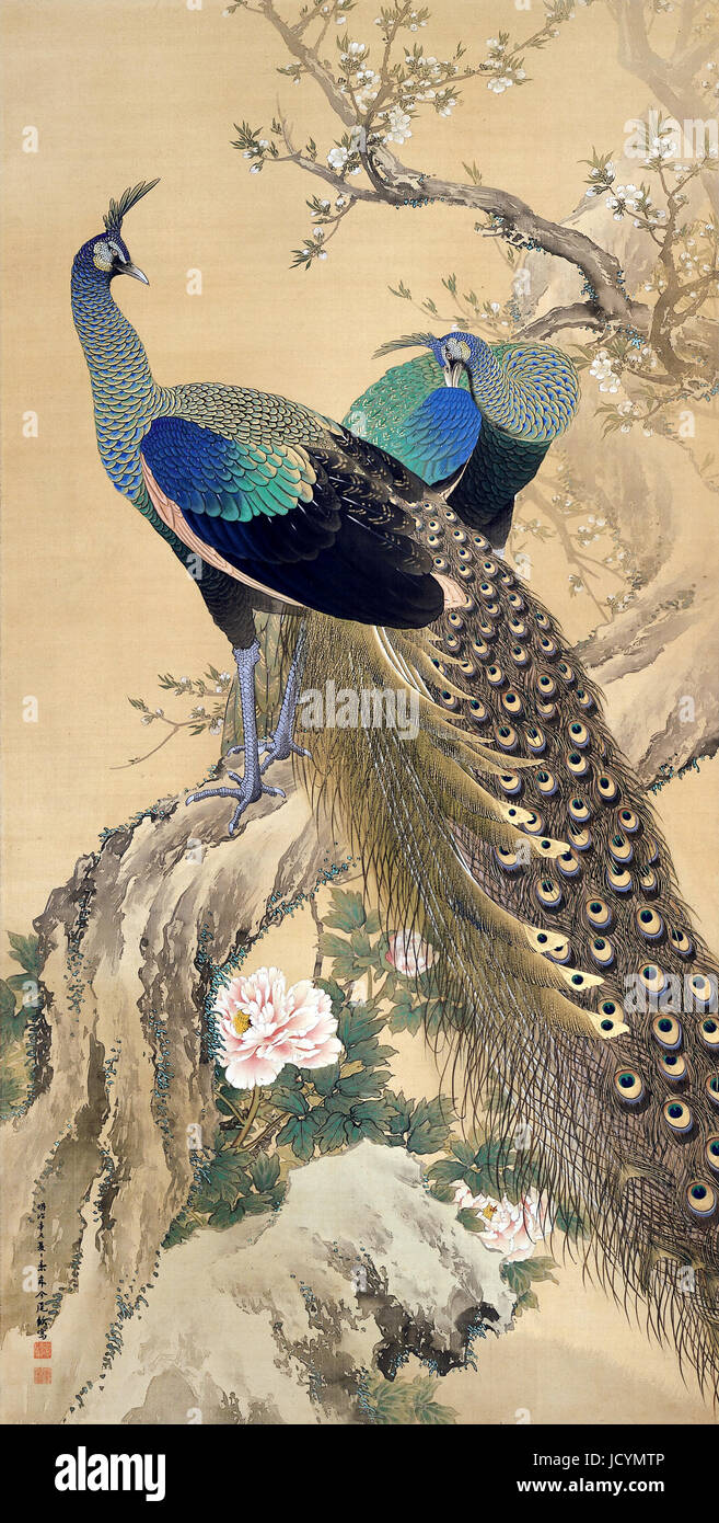 Imao Keinen, A Pair of Peacocks in Spring 1901 Color on silk. Adachi Museum of Art, Yasugi, Japan. - Stock Image