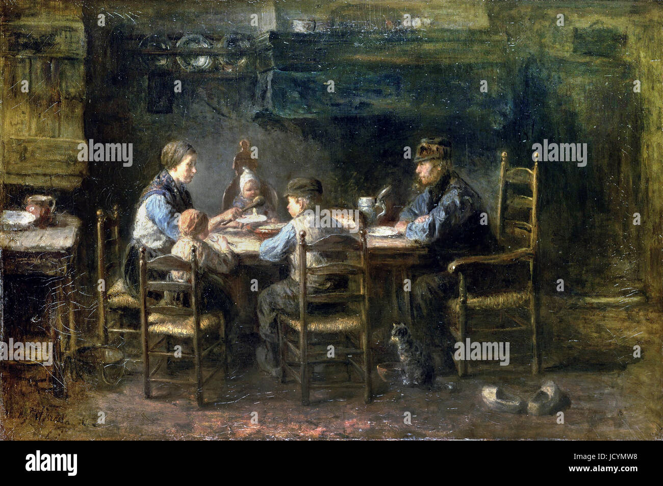 Jozef Israels, Peasant Family at the Table. 1882 Oil on ...