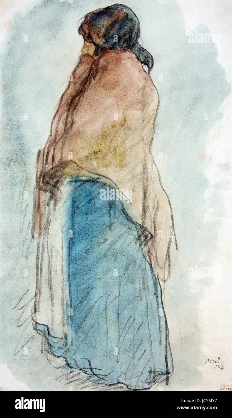 Isidre Nonell, Pitcher Woman 1906 Drawing, pencil and watercolor on paper. Museu Nacional d'Art de Catalunya, - Stock Image
