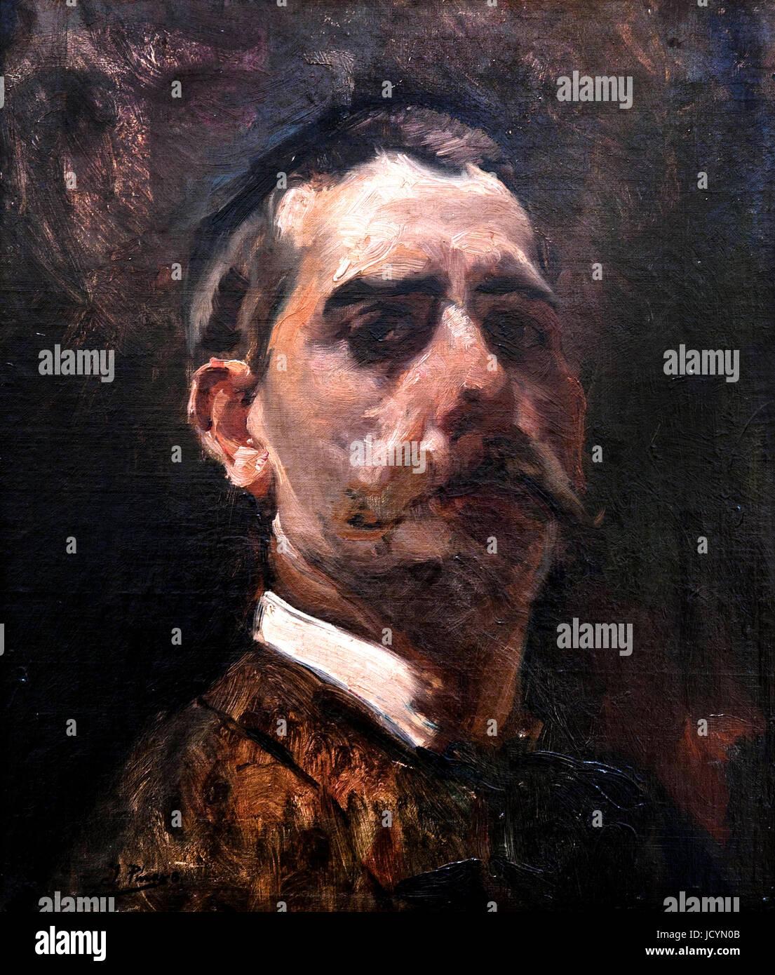 Ignacio Pinazo Camarlench, Portrait 1900 Oil on canvas. Fundacion Banco Santander, Madrid, Spain. - Stock Image