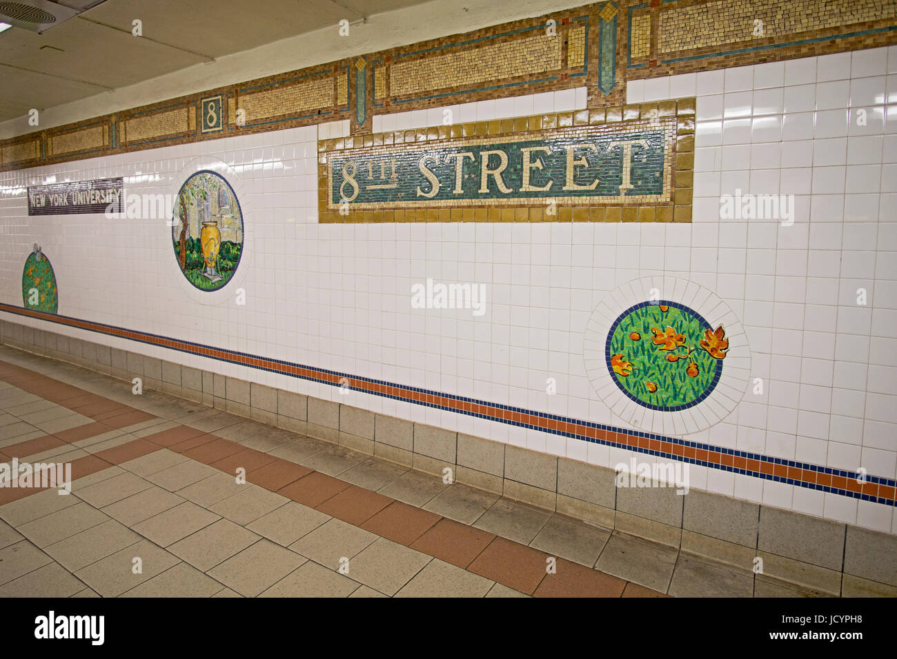 Subway art at the 8th Street station of the R and N lines on Broadway and 8th Street in Greenwich Village in New - Stock Image