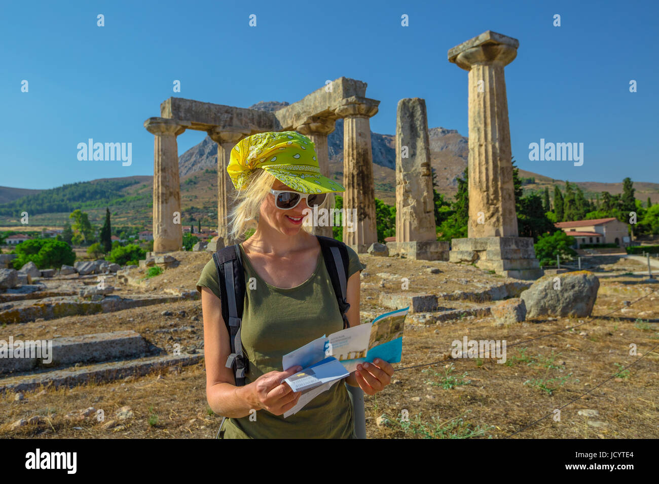 Tourist in Ancient Corinth - Stock Image