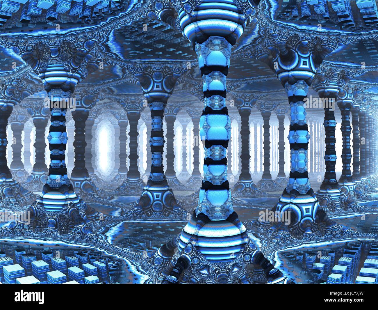 Colonnade,3D fractal illustdation, - Stock Image