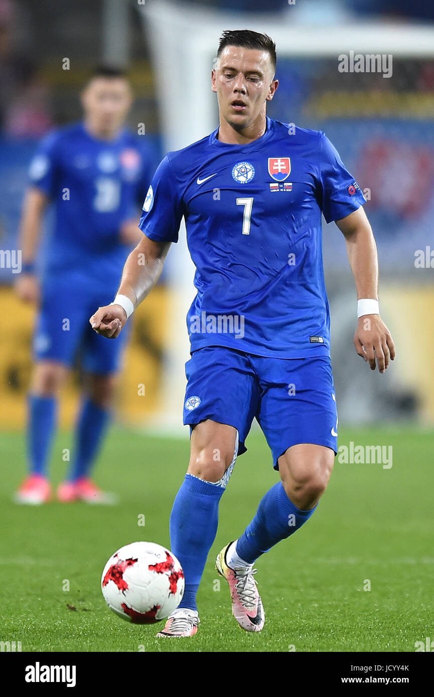 Jaroslav Mihalik during the UEFA European Under-21 match between Poland and Slovakia at Arena Lublin on June 16, - Stock Image