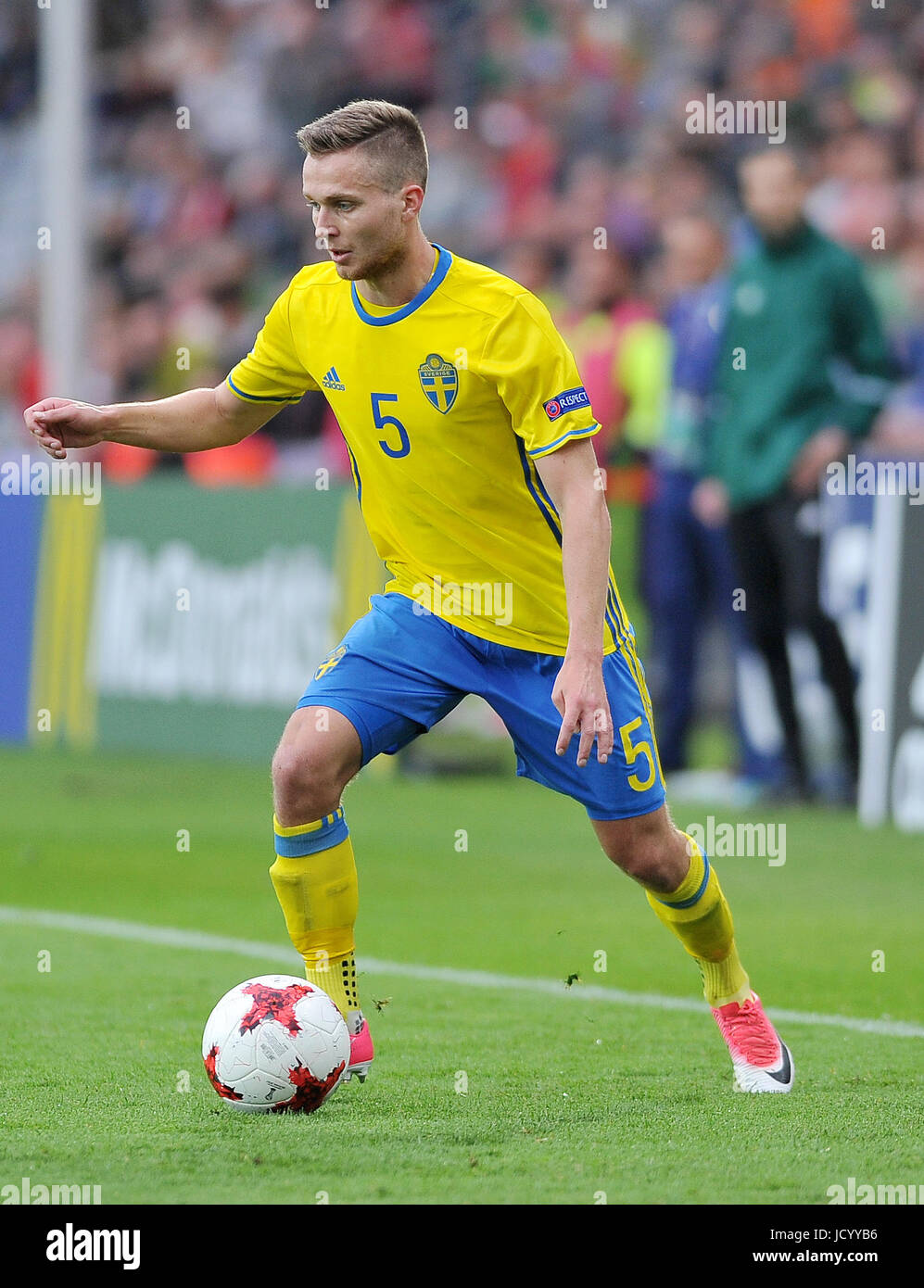 Adam Lundqvist during the UEFA European Under-21 match between Sweden and England at Kolporter Arena on June 16, - Stock Image