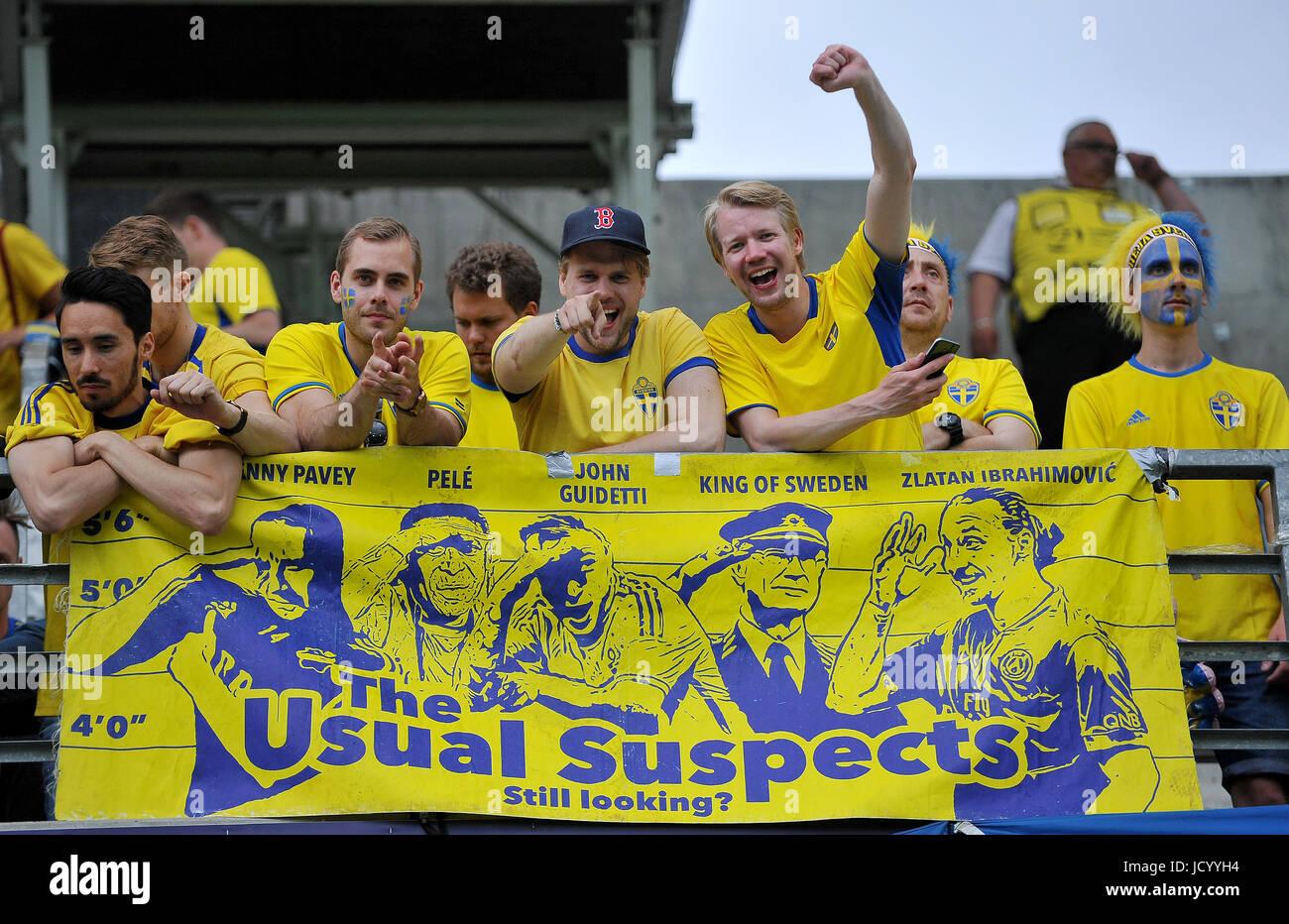 Fans Sweden during the UEFA European Under-21 match between Sweden and England at Kolporter Arena on June 16, 2017 - Stock Image
