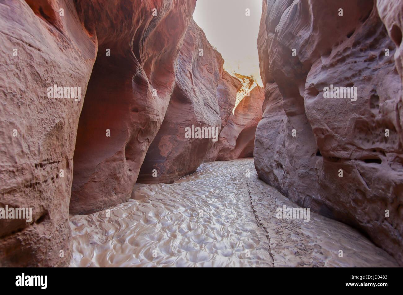 Inside of Buckskin Gulch Slot Canyon. Stock Photo