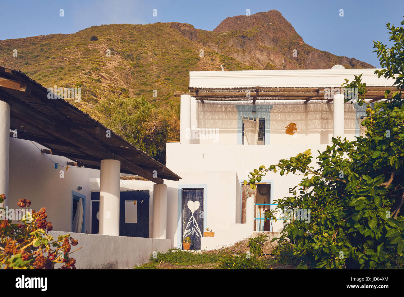 Aeolian Islands - Ginostra - Sicily - typical place of residence - Stock Image