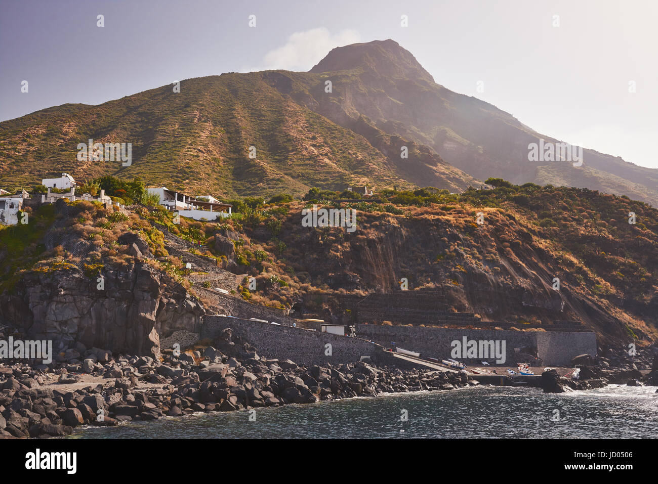 Aeolian Islands - Ginostra - Sicily - Harbor, Volcano Stromboli in the background - Stock Image