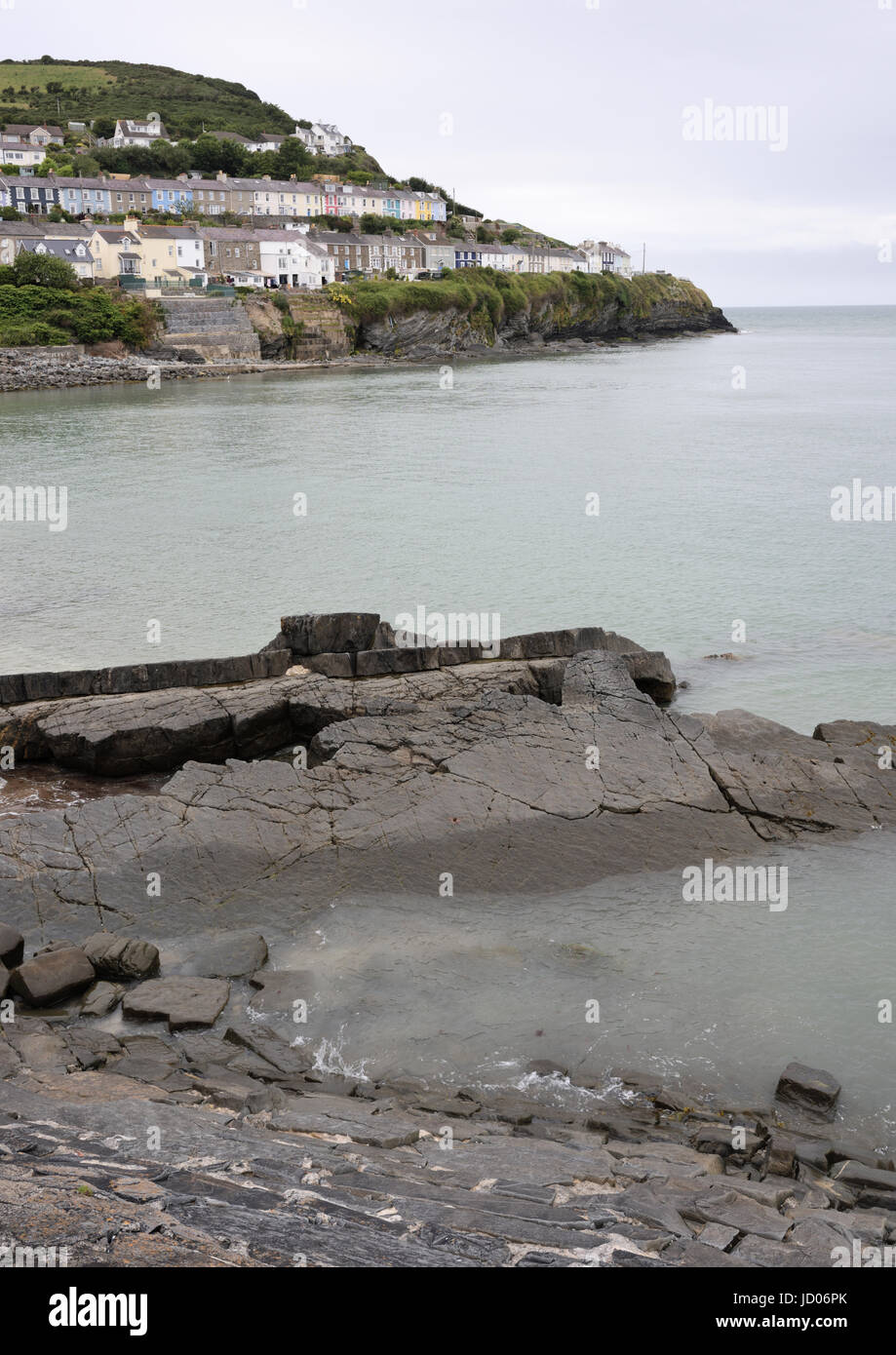 Rock formation and headland at New quay cardigan bay wales - Stock Image