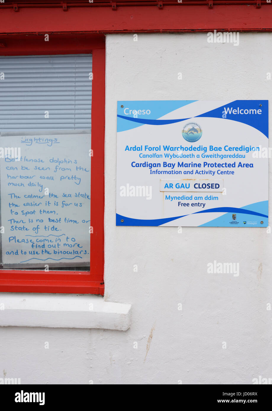 Cardigan bay marine protected area notice on wall new quay wales - Stock Image