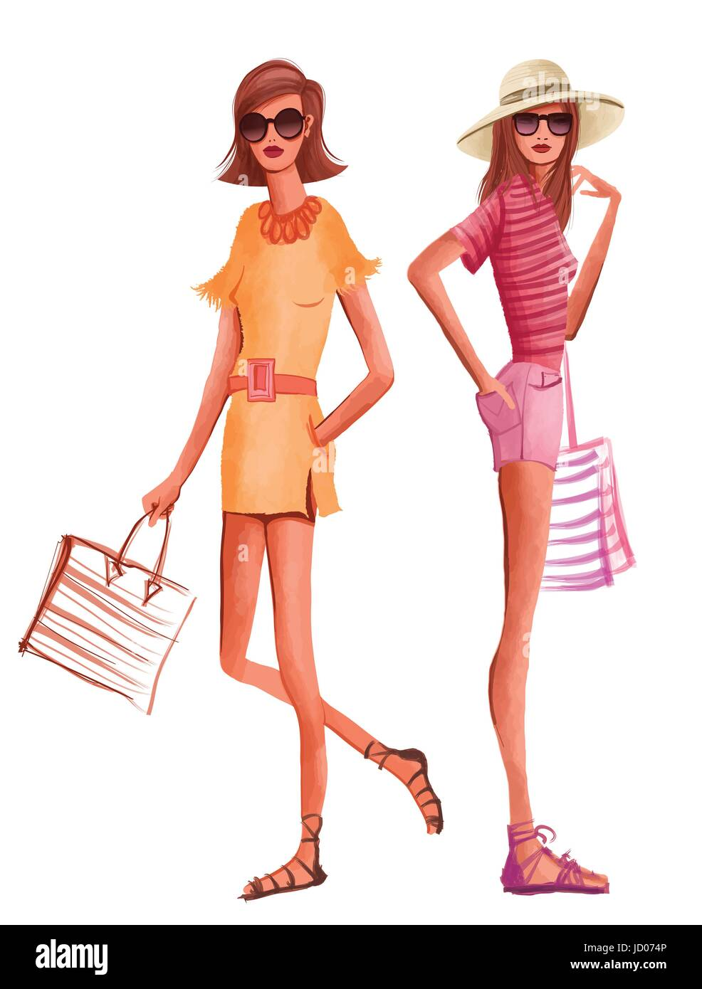 2e809d39200 Fashion women in summer dress ready for the beach - vector illustration