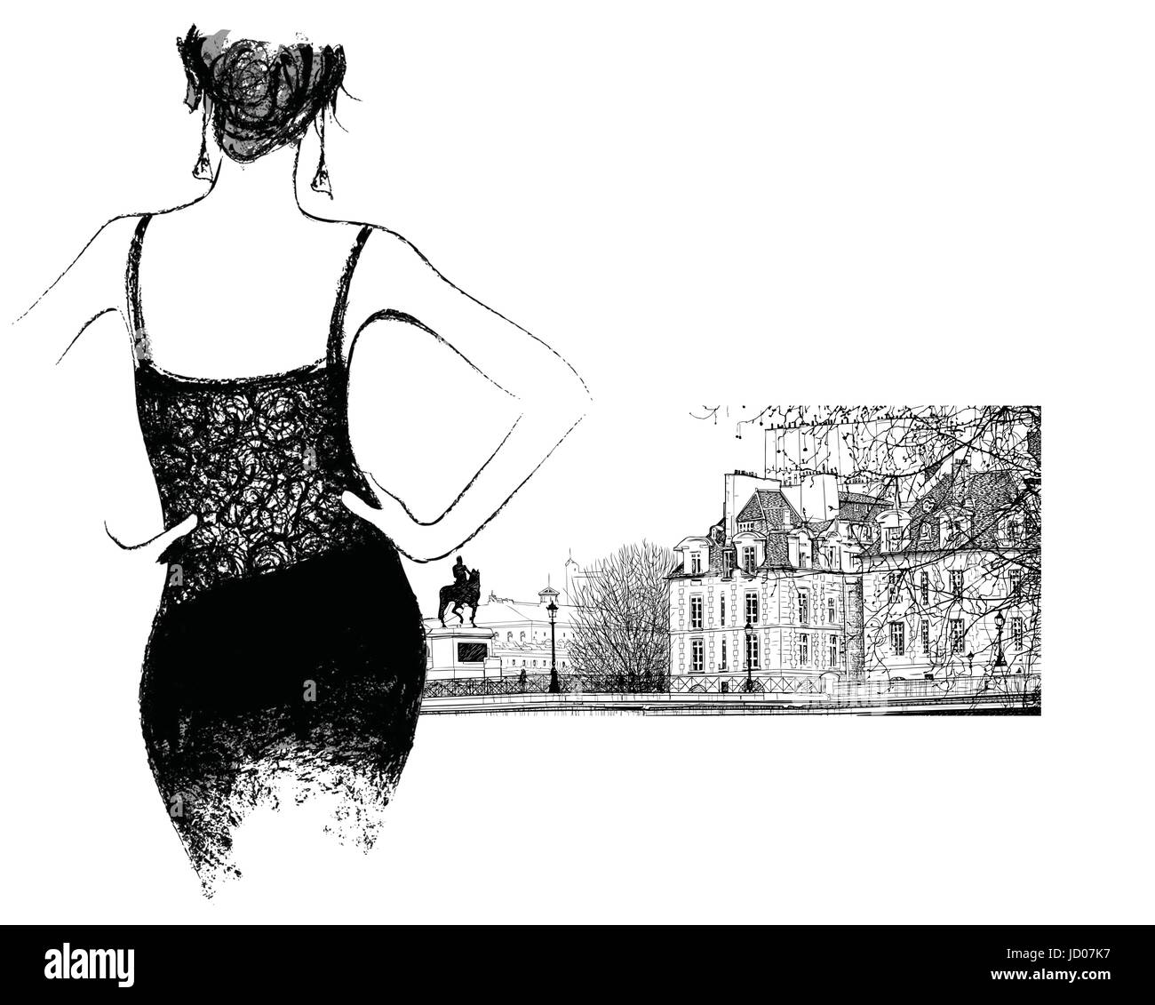 Young fashion woman looking the 'pont Neuf' bridge in Paris - vector illustration - Stock Vector