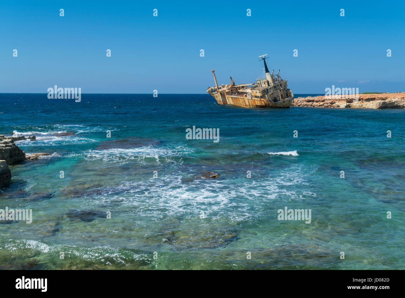 Wreck of Edro III, Sea Caves, near Coral Bay, Paphos, Pafos, Cyprus - Stock Image