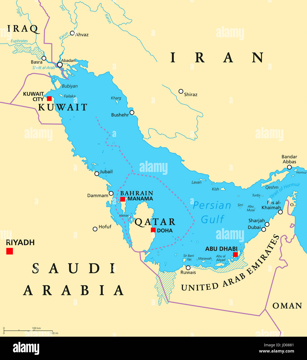 persian gulf region countries political map iran iraq kuwait qatar bahrain united arab emirates saudi arabia oman illustration english