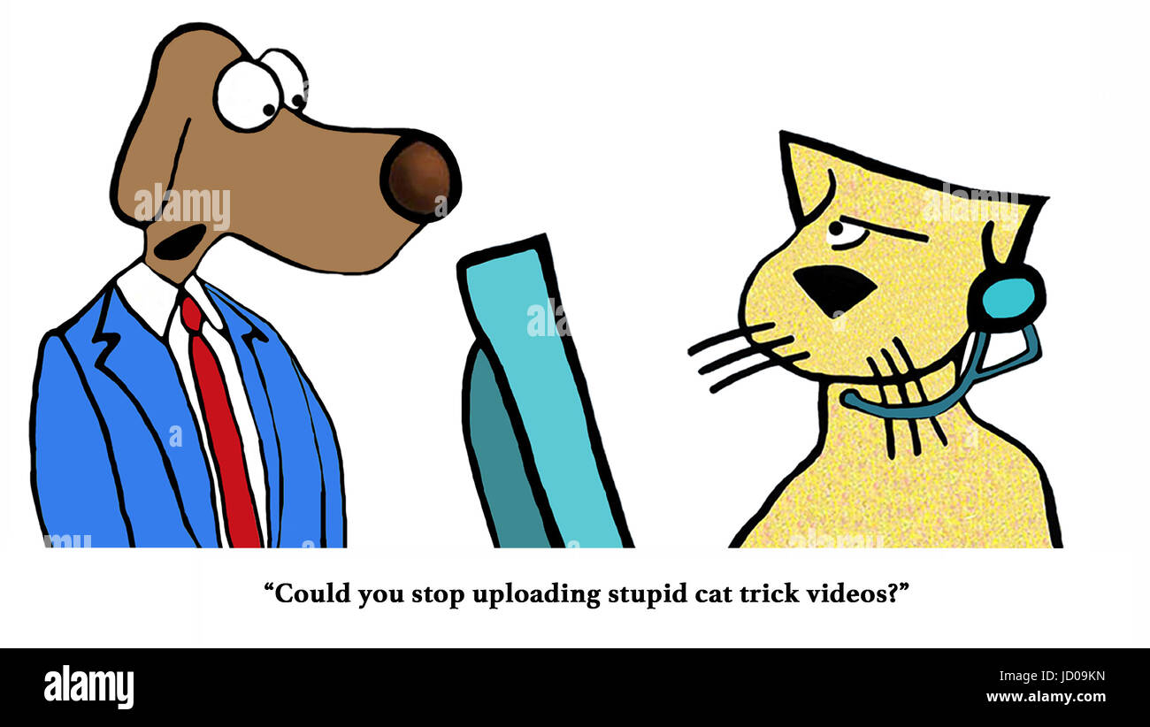 Business cartoon about a boss dog making a request of worker cat. - Stock Image