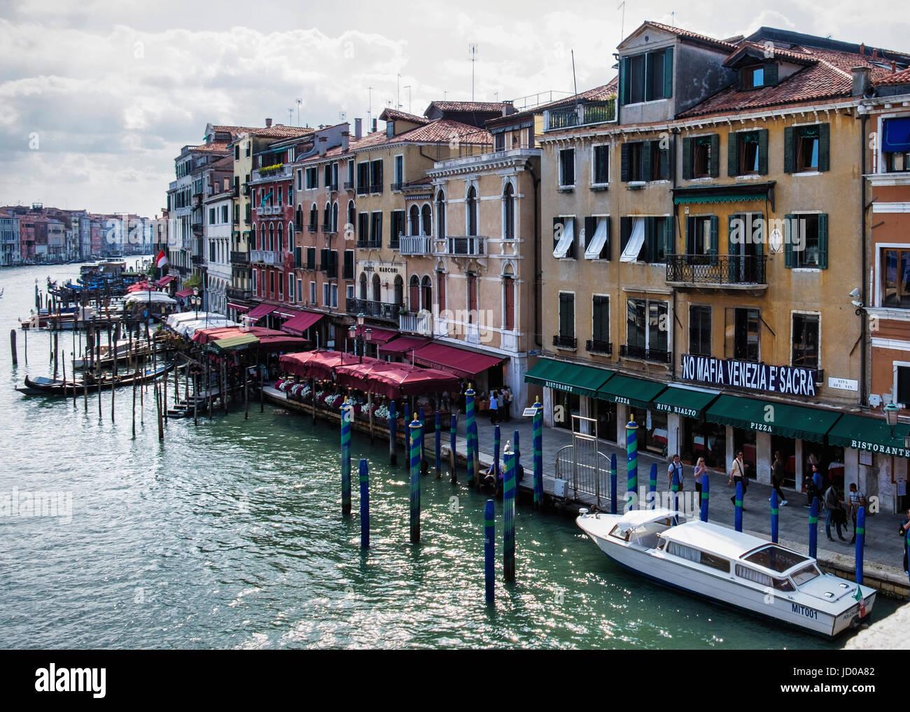 Venice, San Marco.Grand Canal, Typical Venetian landscape view with weathered houses and palazzos & 'No - Stock Image