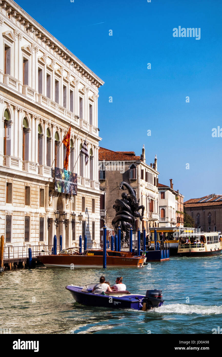 Venice,Italy. Palazzo Grassi,Palace on the Grand canal shows British artist,Damien Hirst exhibiton 'Treasures - Stock Image