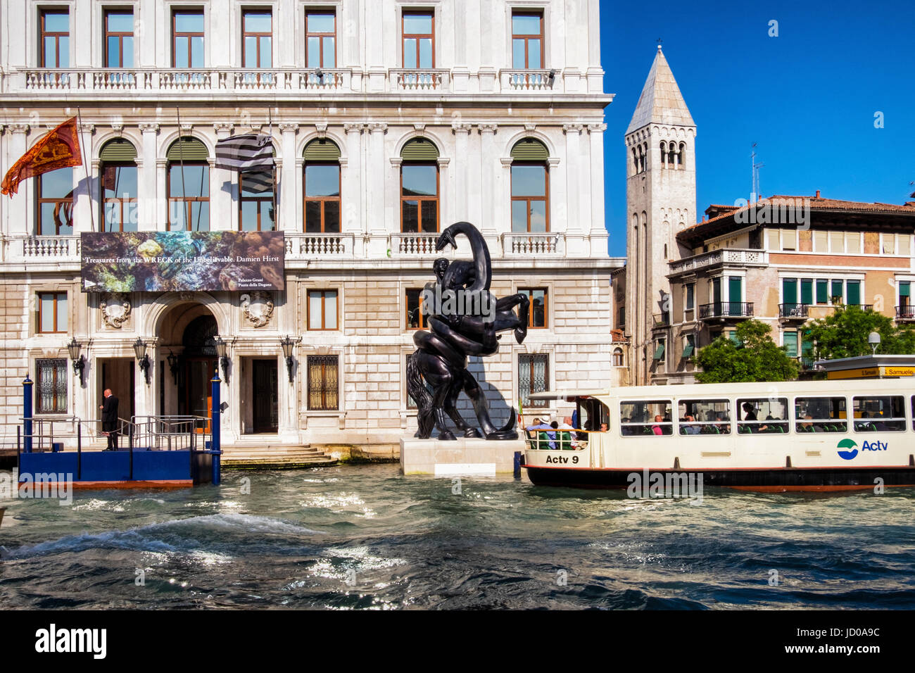 Venice,Italy. Palazzo Grassi Palace on the Grand canal shows British artist,Damien Hirst exhibiton 'Treasures - Stock Image