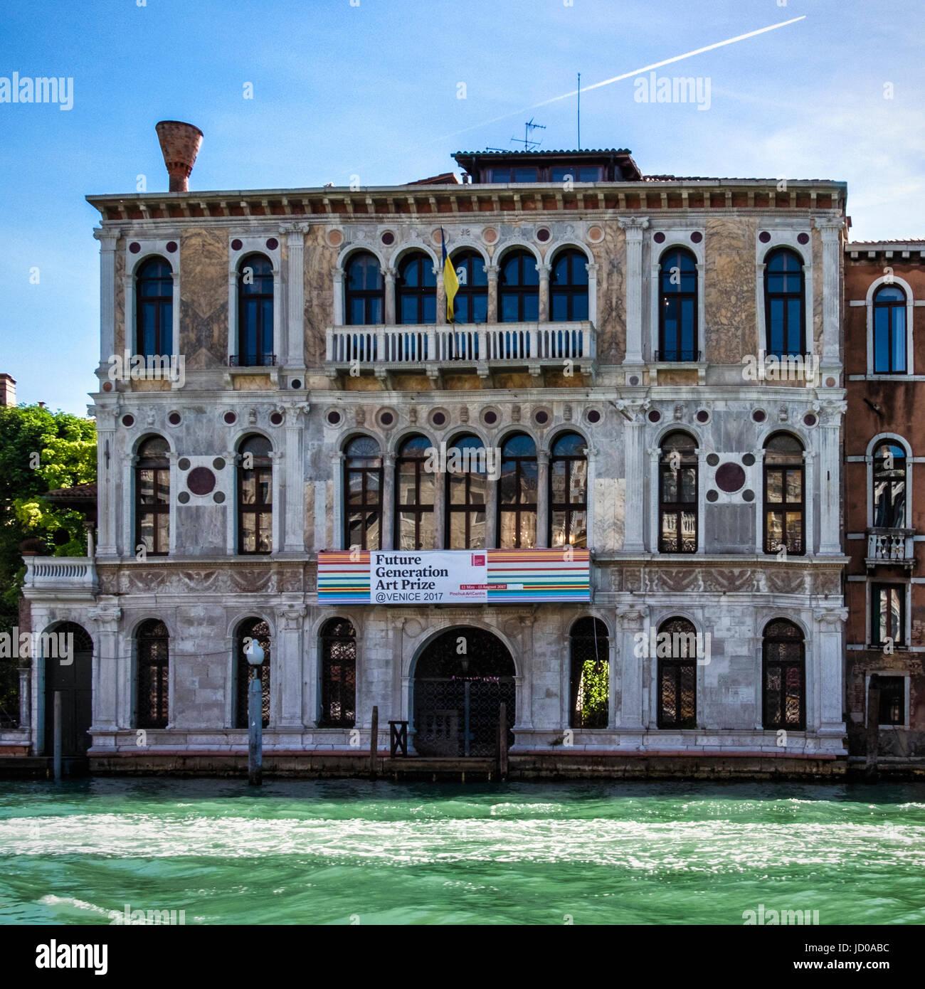 Venice Italy.  Dorsoduro Historic Palazzo Contiarini  Polignac.Palace building exterior with Renaisance facade - Stock Image