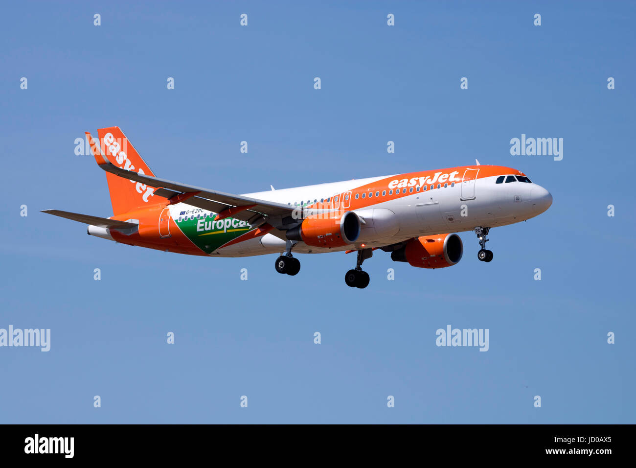 EasyJet Airline Airbus A320-214 [G-EZPC] with a special color scheme promoting Europcar. - Stock Image