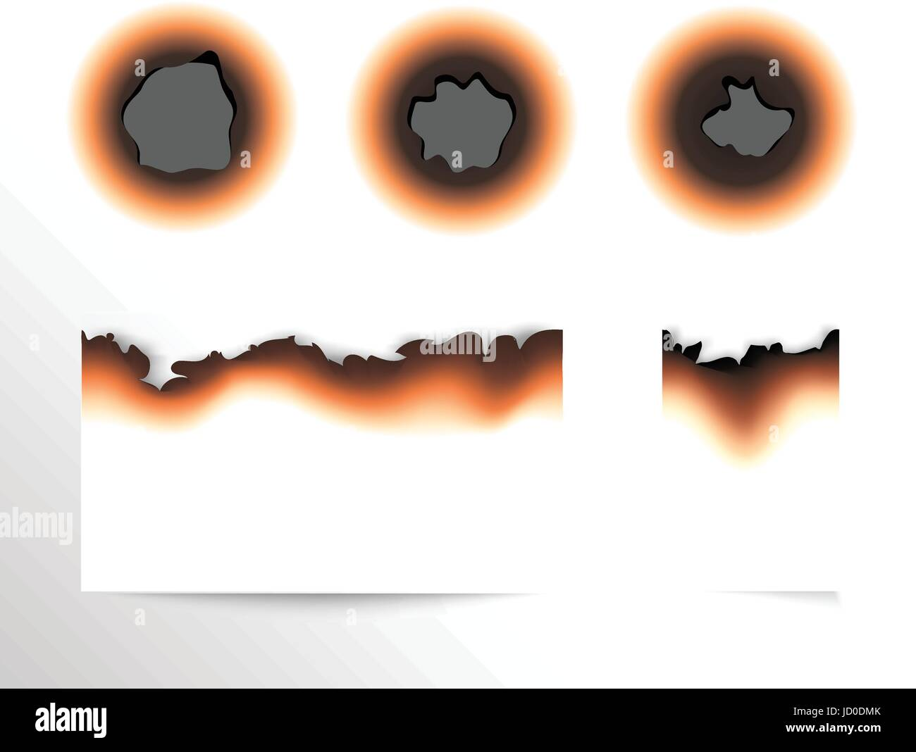 Set of scorched piece of paper and burnt holes on white background isolated vector illustration. - Stock Vector