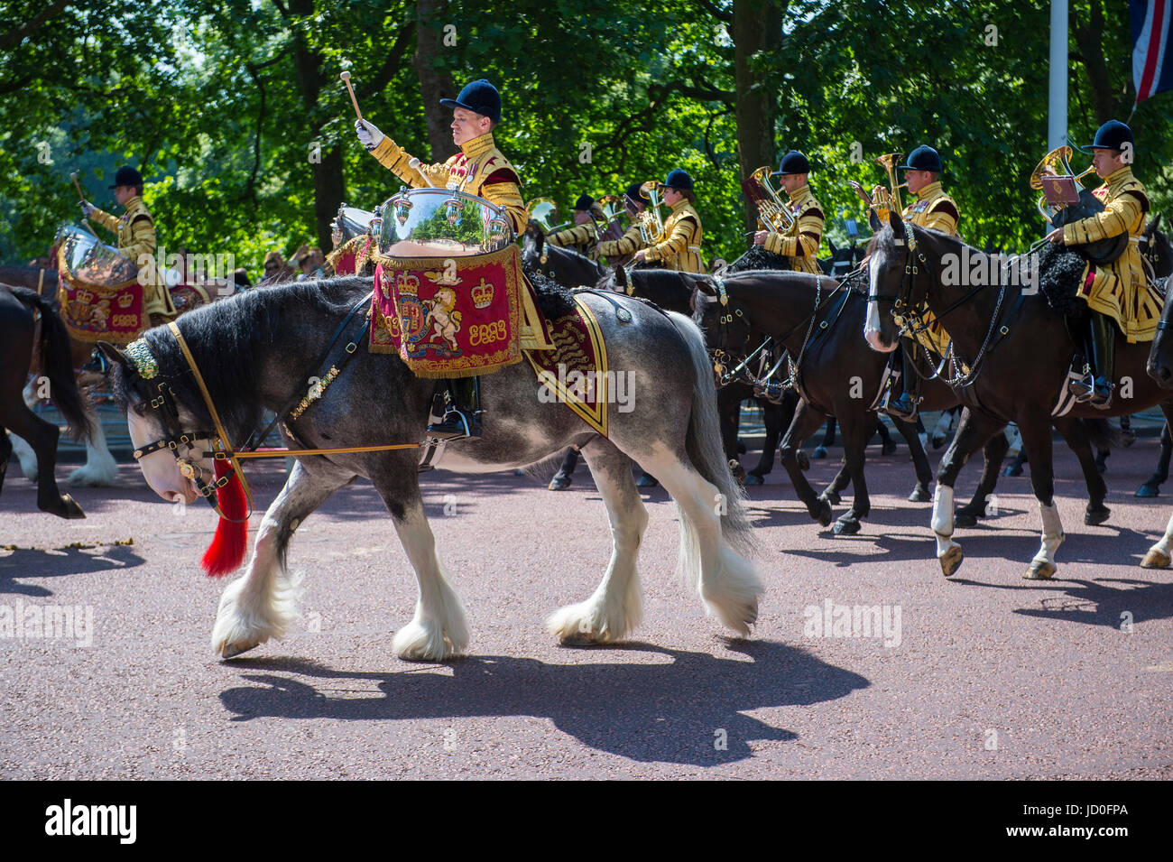 LONDON, UK - JUNE 17, 2017: Mounted military band parade in formation down The Mall in a royal Trooping the Colour - Stock Image
