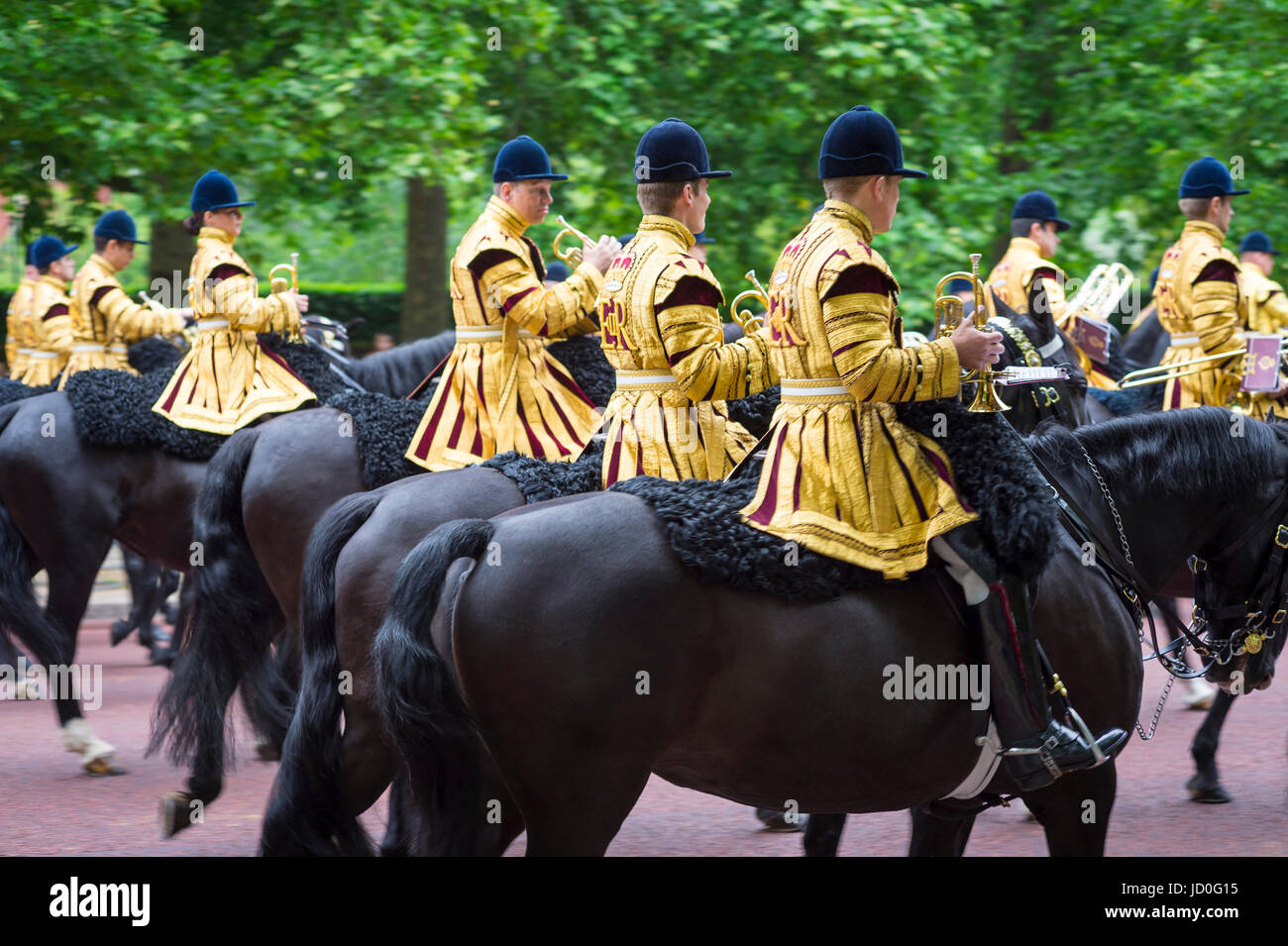 LONDON, UK - JUNE 13, 2015: Mounted military band parade in formation down The Mall in a royal Trooping the Colour - Stock Image
