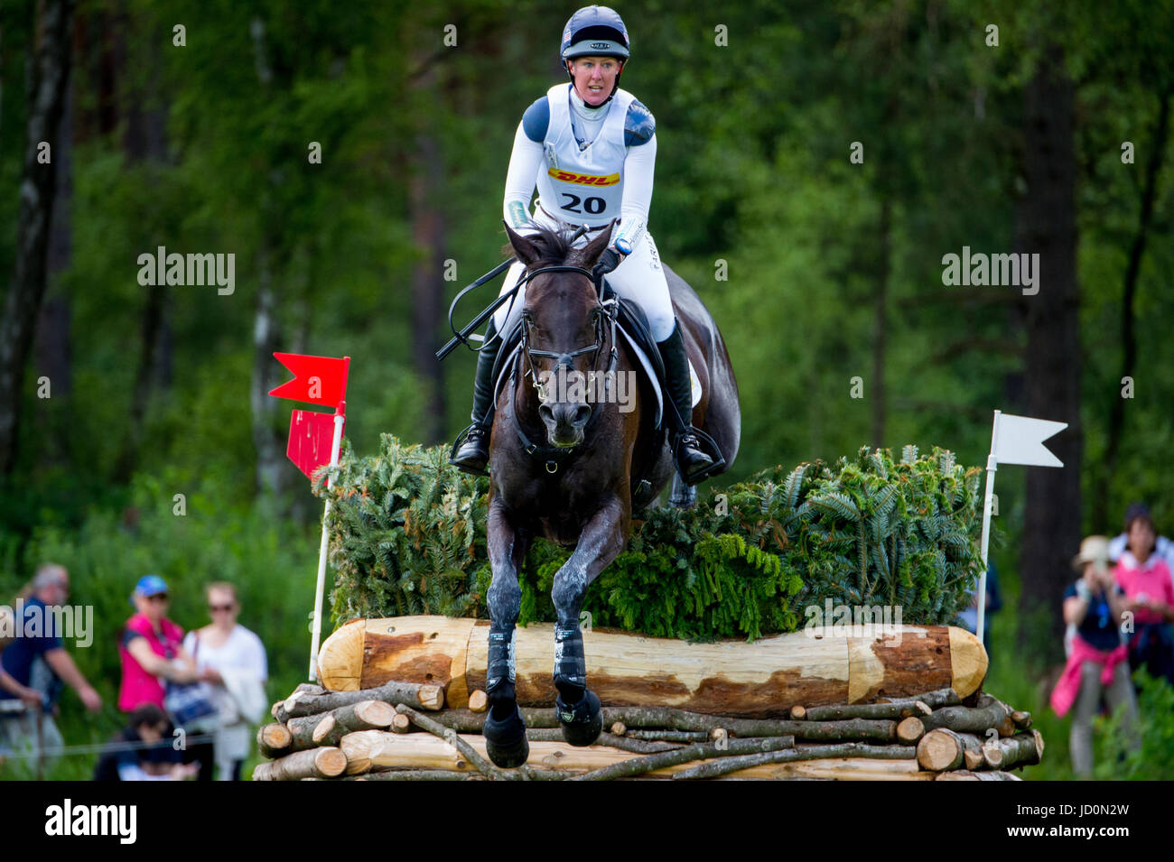 Luhmuehlen, Germany. 17th June, 2017. British eventing rider Nicola Wilson jumps over a hurdle on her horse Bulana - Stock Image