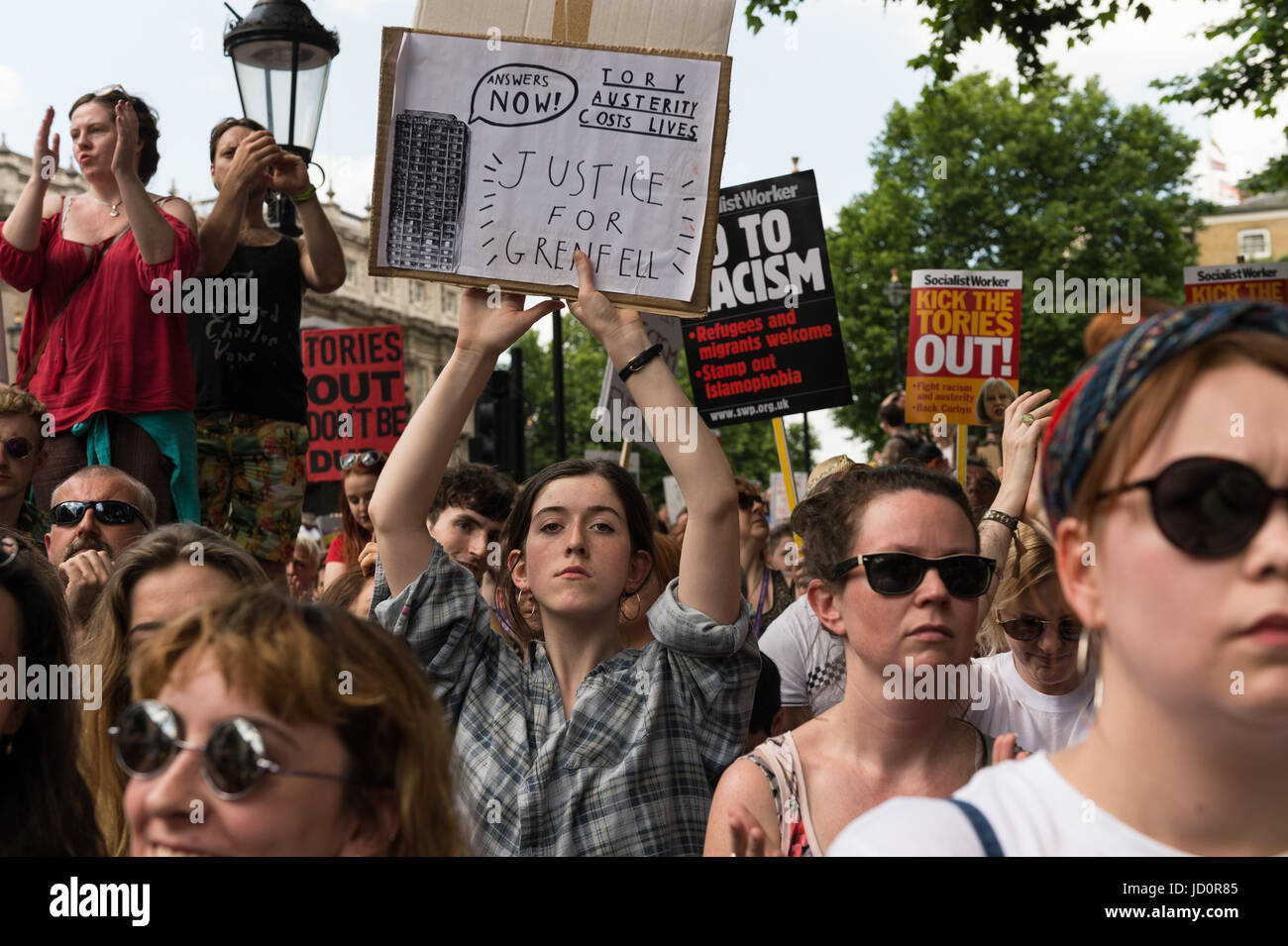 London, UK. 17th June, 2017. Pro-Labour demonstrators gather on Whitehall outside Downing Street in central London - Stock Image