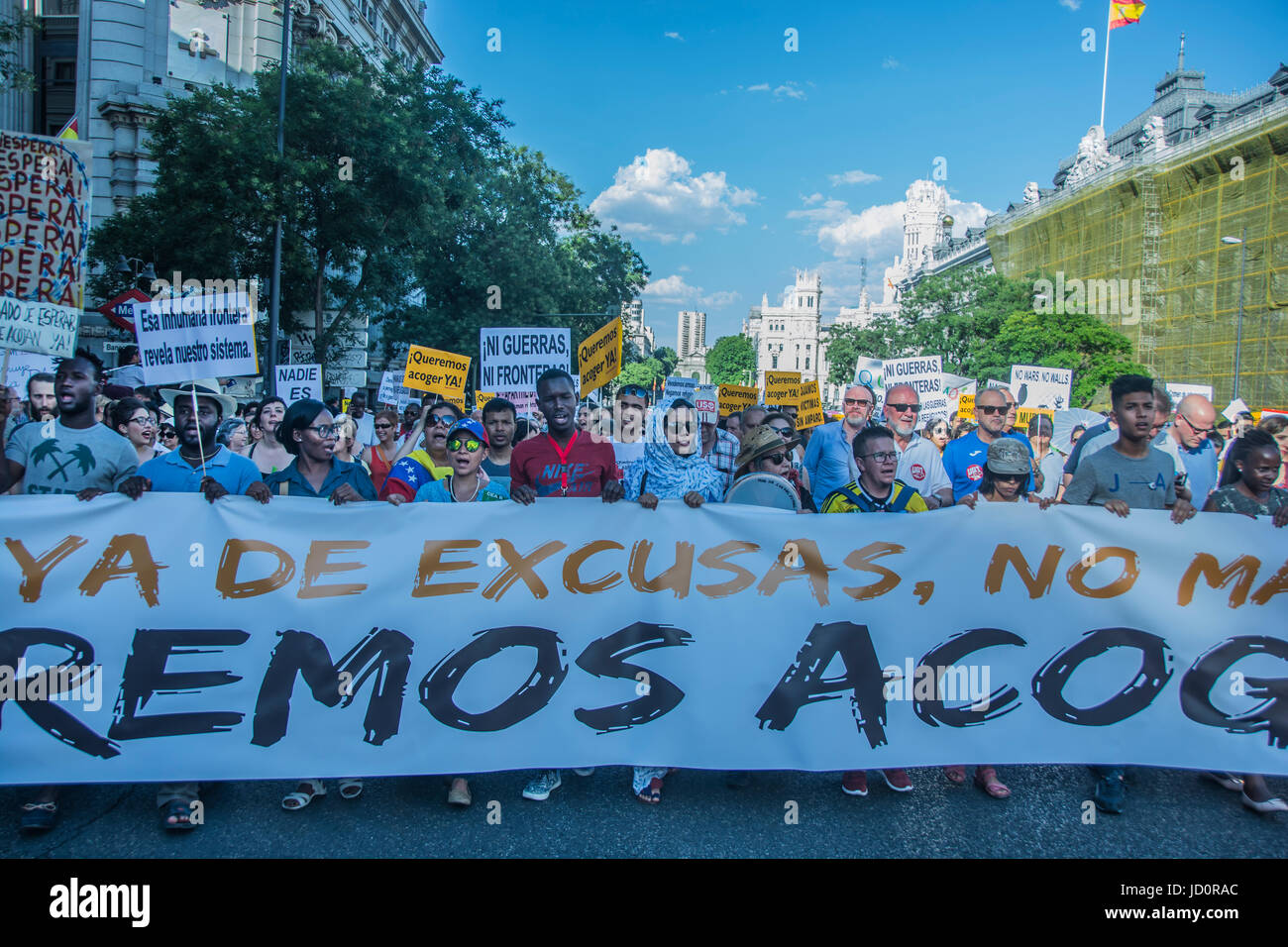 "Madrid, Spain. 17th June, 2017. demonstration in favor of the refugees ""queremos acoger"" in Madrid, spain Credit: Stock Photo"