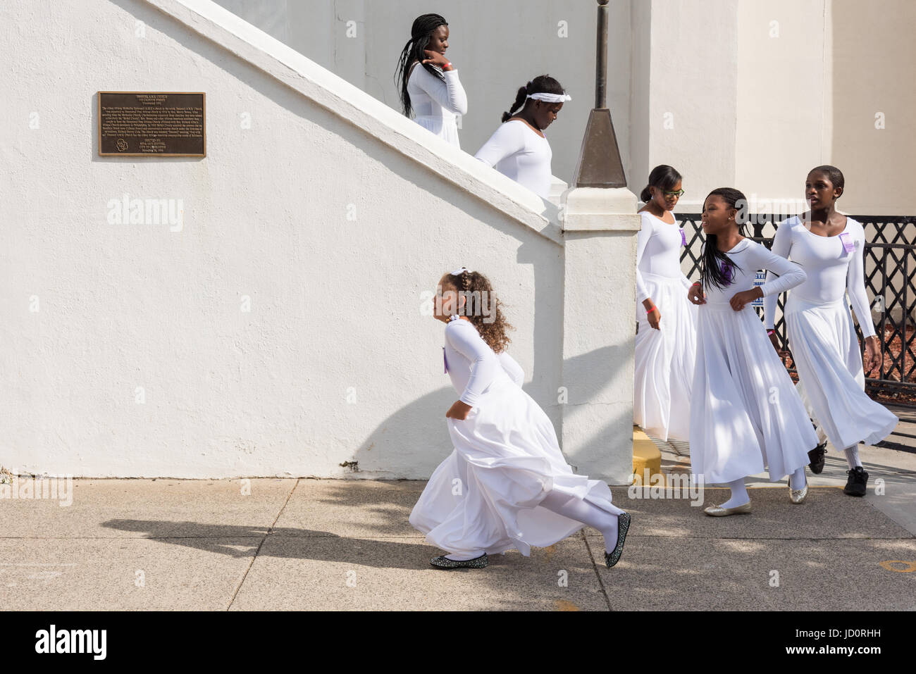 Charleston, South Carolina, USA. 17th June, 2017. Young members of the praise dance group of the Mother Emanuel - Stock Image