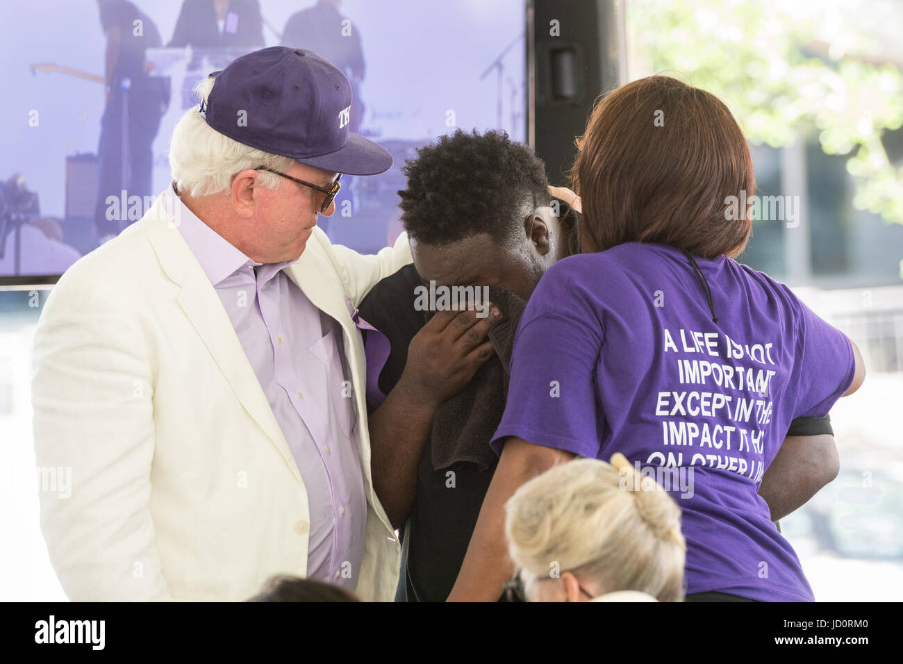 Charleston, South Carolina, USA. 17th June, 2017. Andy Savage, left, Jarell Smalls, center, and Felicia Sanders - Stock Image