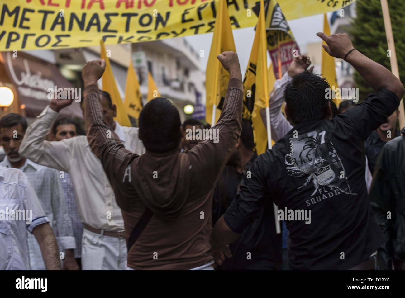 Athens, Greece. 17th June, 2017. Leftists, anarchists, anti-racism organization members and migrants march in the Stock Photo