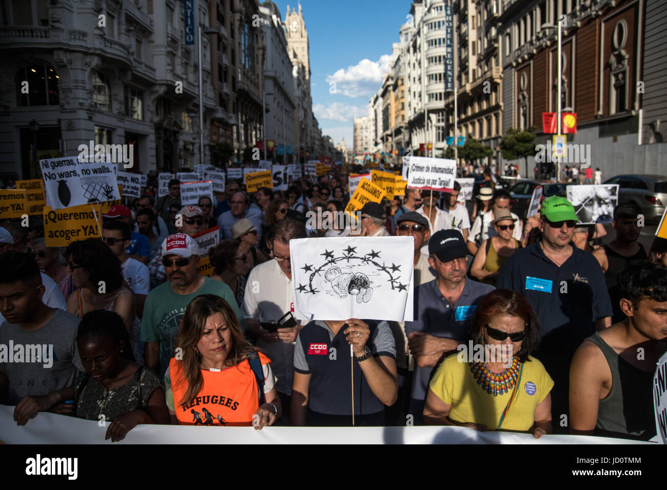 Madrid, Spain. 17th June, 2017. People demanding to welcome refugees during a demonstration against immigration - Stock Image
