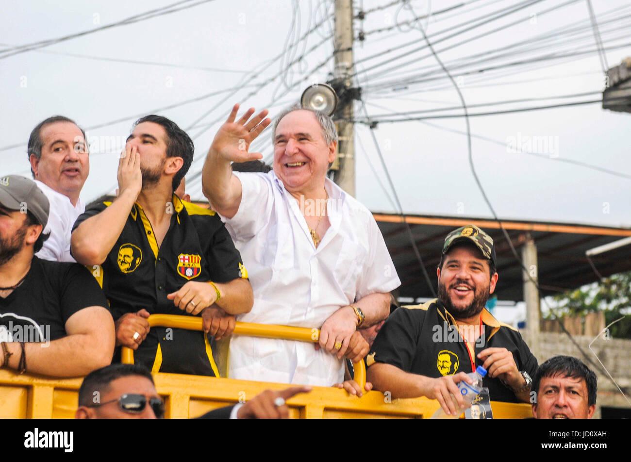 Former Ecuadorian President Abdala Bucaram C Adresses A Speech To Supporters During Rally In Guayaquil Ecuador 17 June 2017