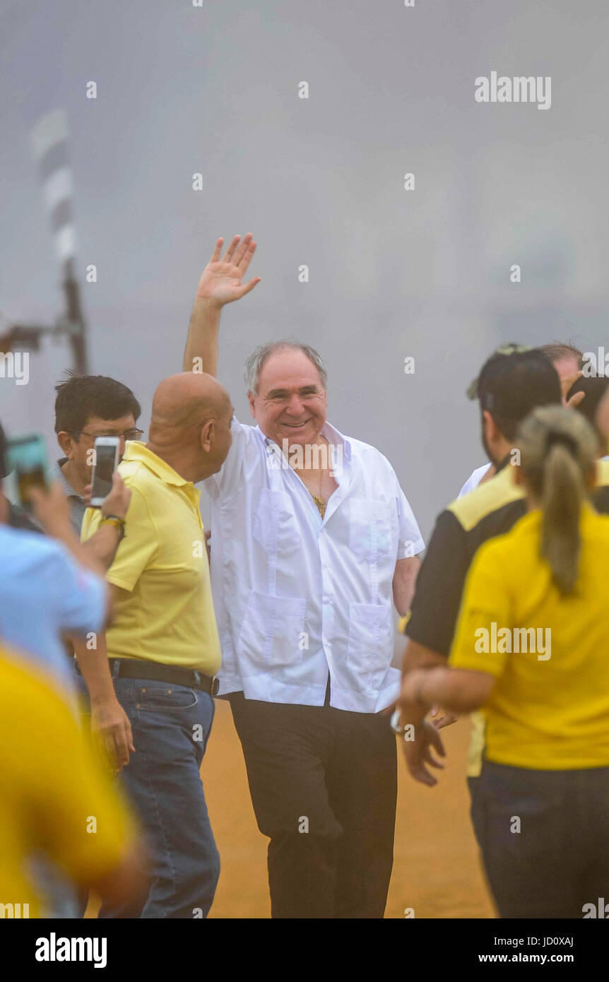 Former Ecuadorian President Abdala Bucaram C Waves To Supporters Upon His Arrival A Rally In Guayaquil Ecuador 17 June 2017