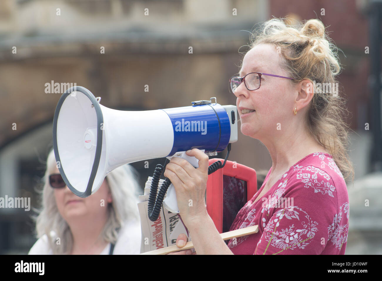 Hull Stand Up To Racism holds a demonstration with speakers addressing the Grenfell Tower Fire while Stand Up To - Stock Image
