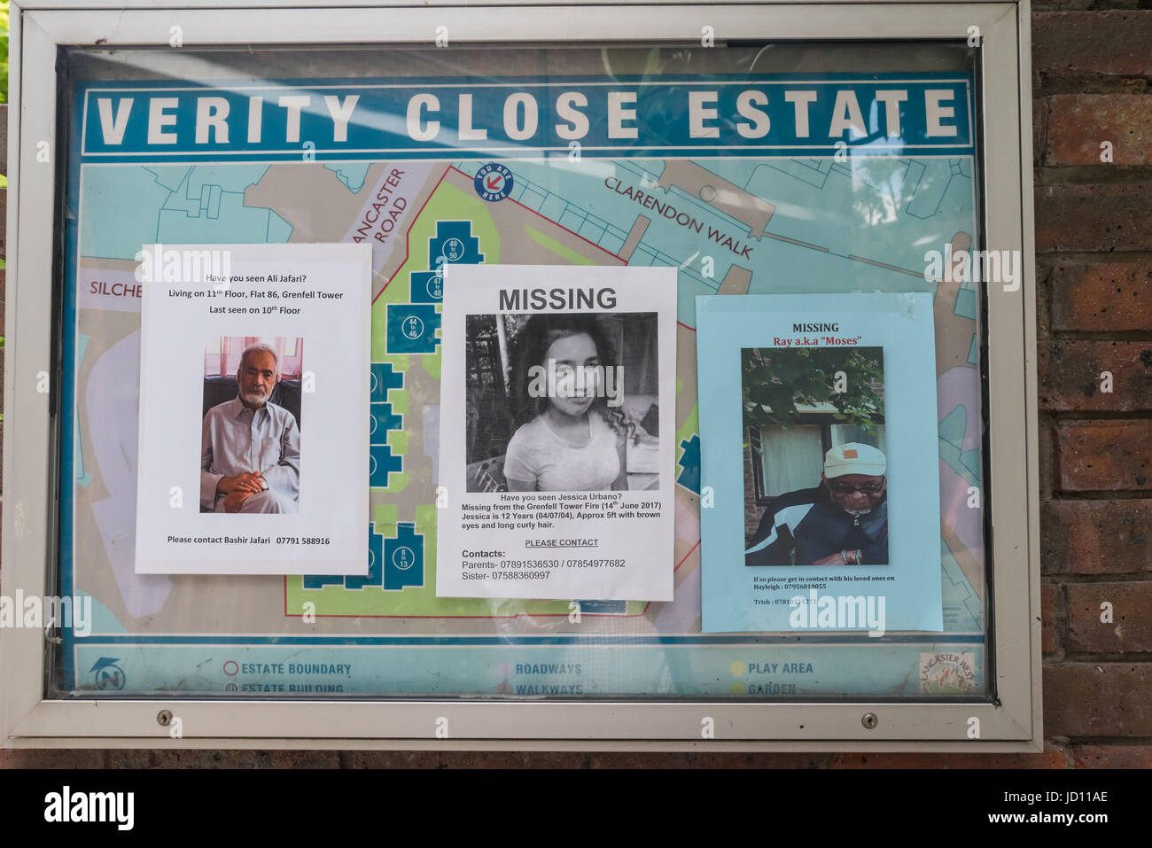 June 17, 2017 - London, UK - London, UK. 17th June 2017. Posters on lamp posts, walls and noticeboards display the Stock Photo