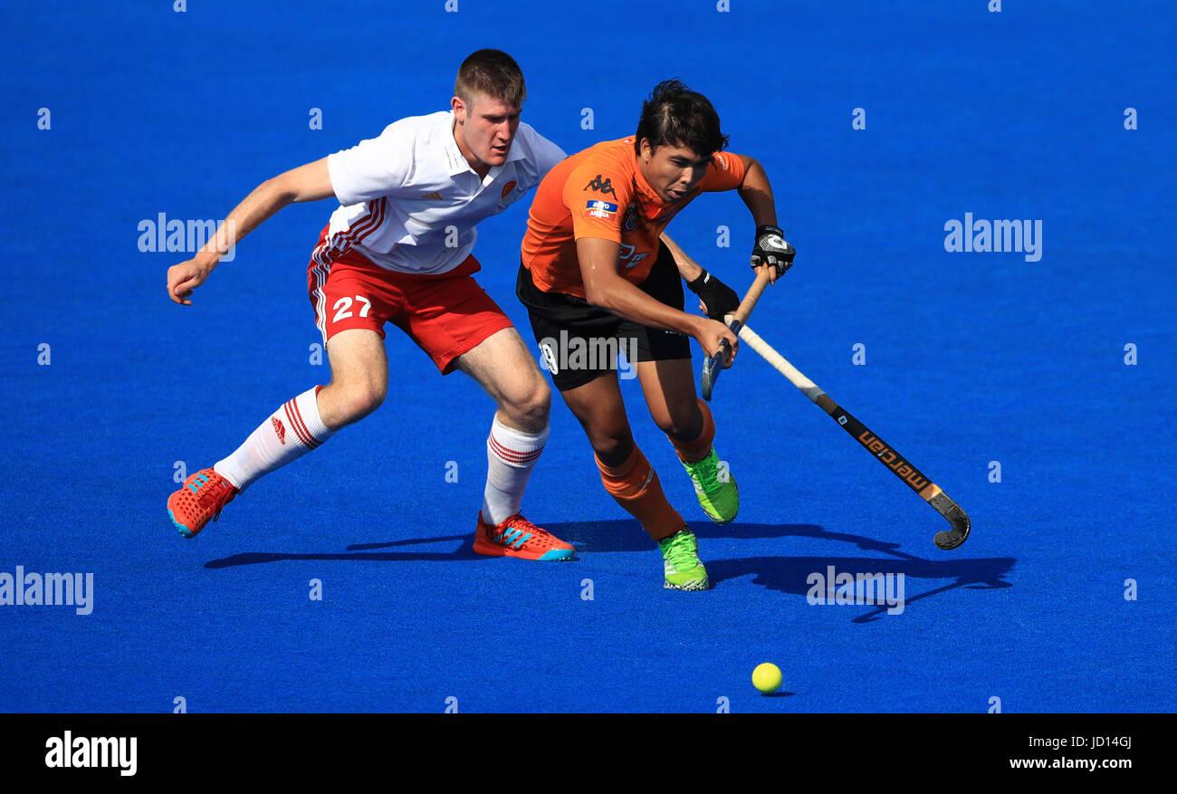 england s liam sanford left battles for possession of the ball
