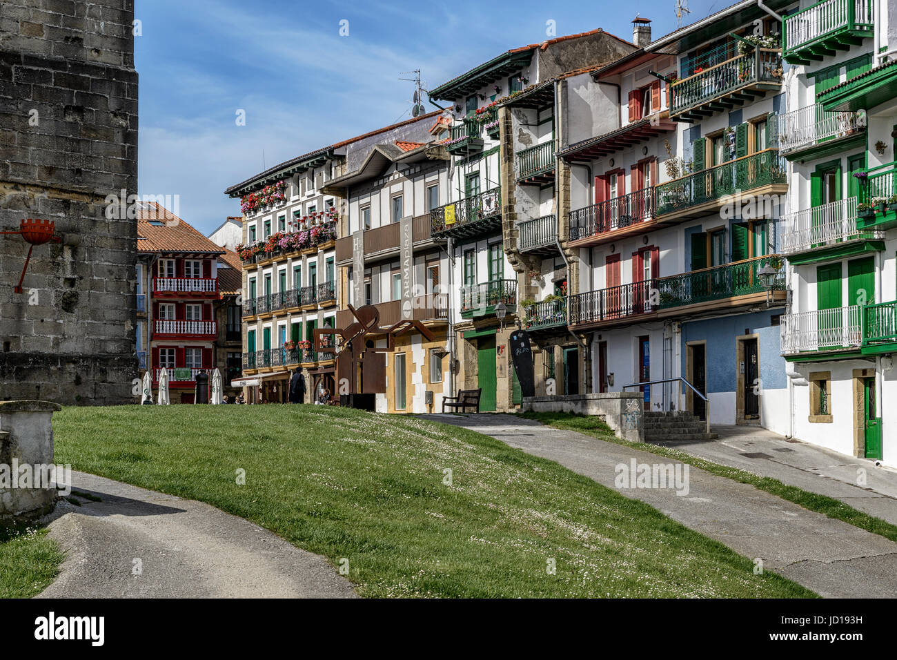 Arma plaza and Hotel Carlos V in the center of the town of Hondarribia (Fuenterrabia) Guipuzkoa, Basque Country, - Stock Image