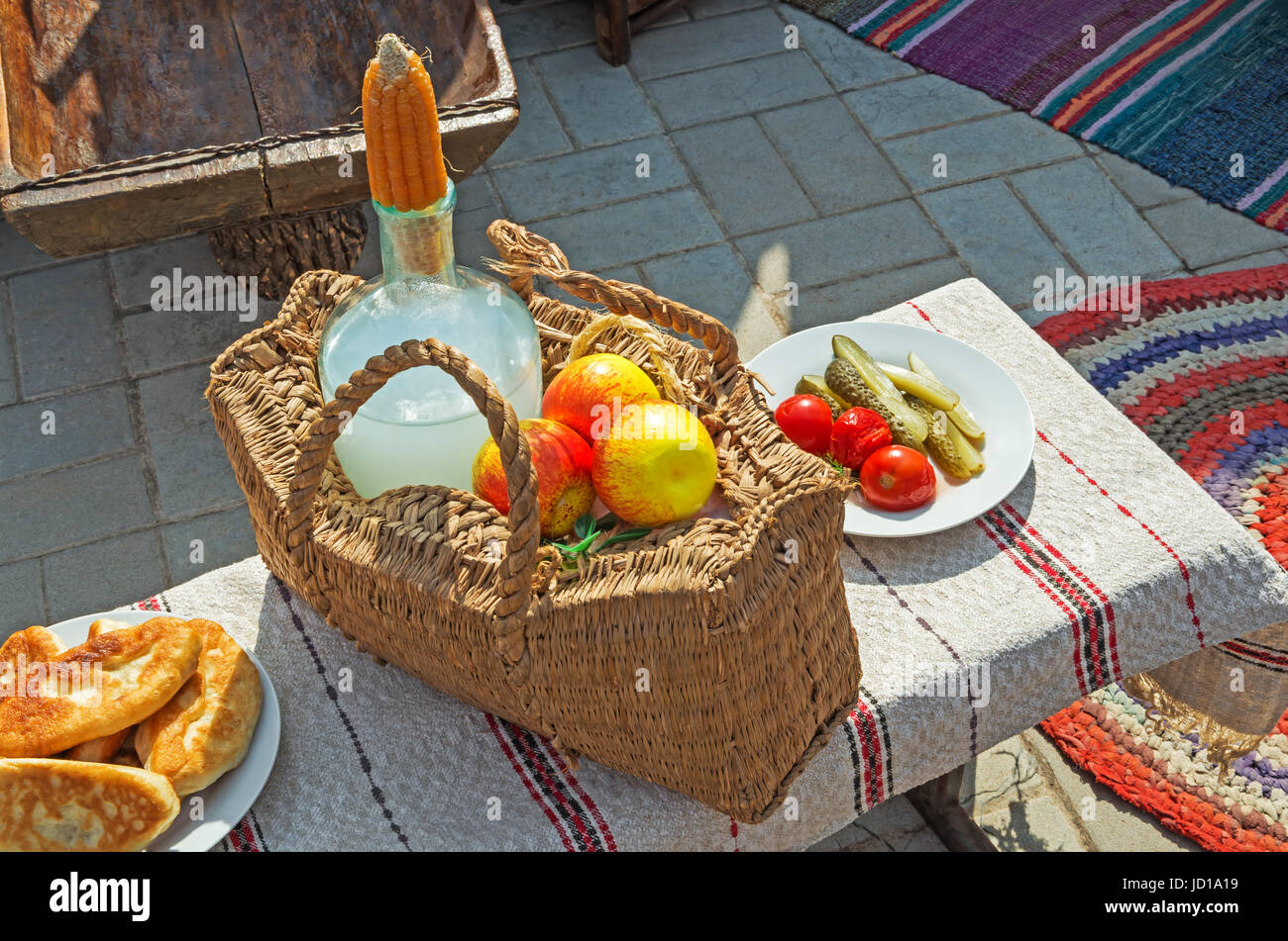 Ukrainian traditional rural food festival dedicated to the City Day - Stock Image