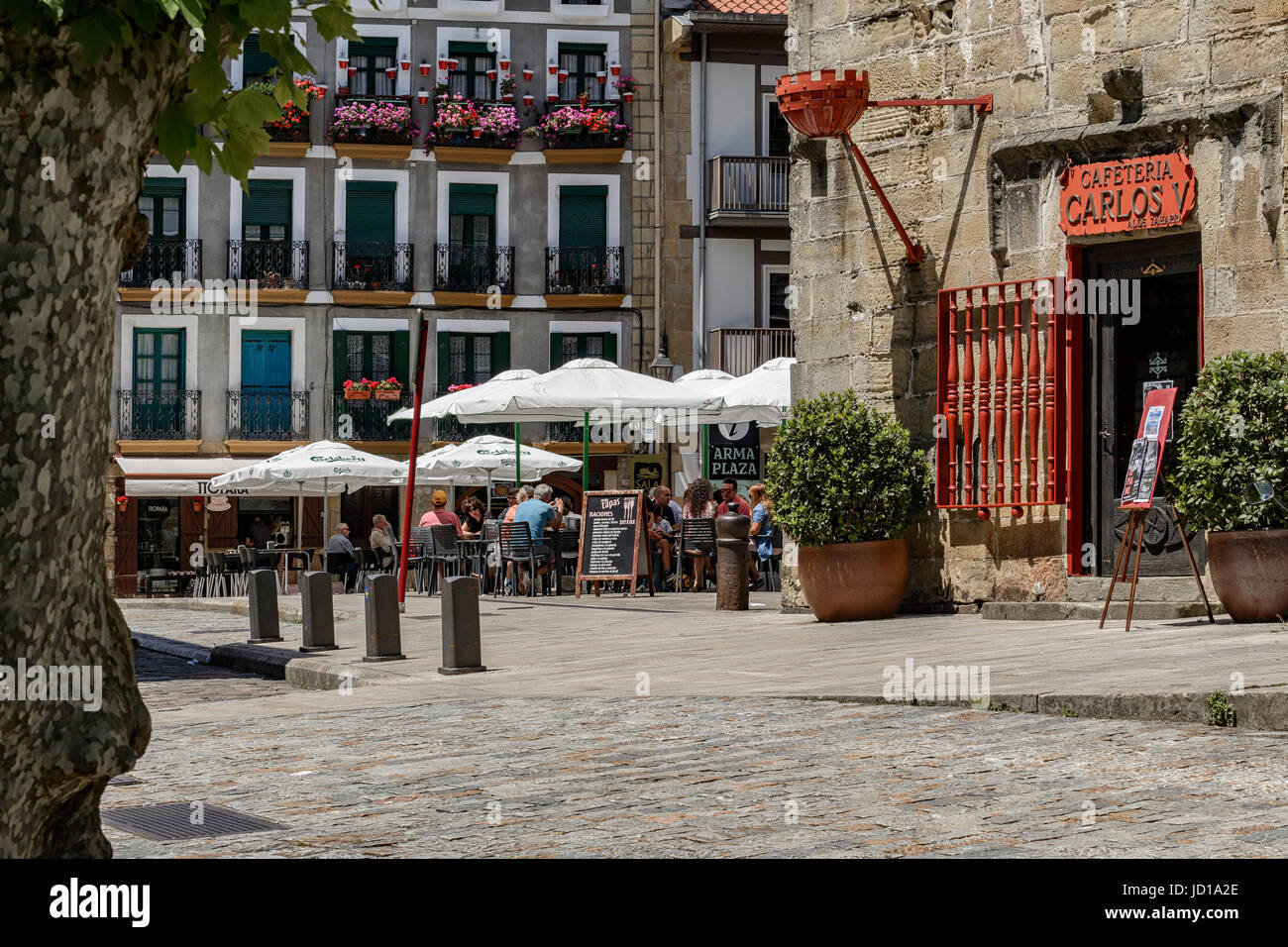 Arma plaza and cafeteria of the Hotel Carlos V in the center of the town of Hondarribia (Fuenterrabia) Guipuzkoa, - Stock Image