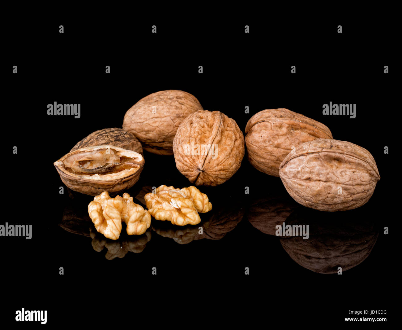 Walnuts. Healthy snack. Contain melatonin to aid good sleep plus antioxidants and Omega-3 fatty acids to reduce - Stock Image