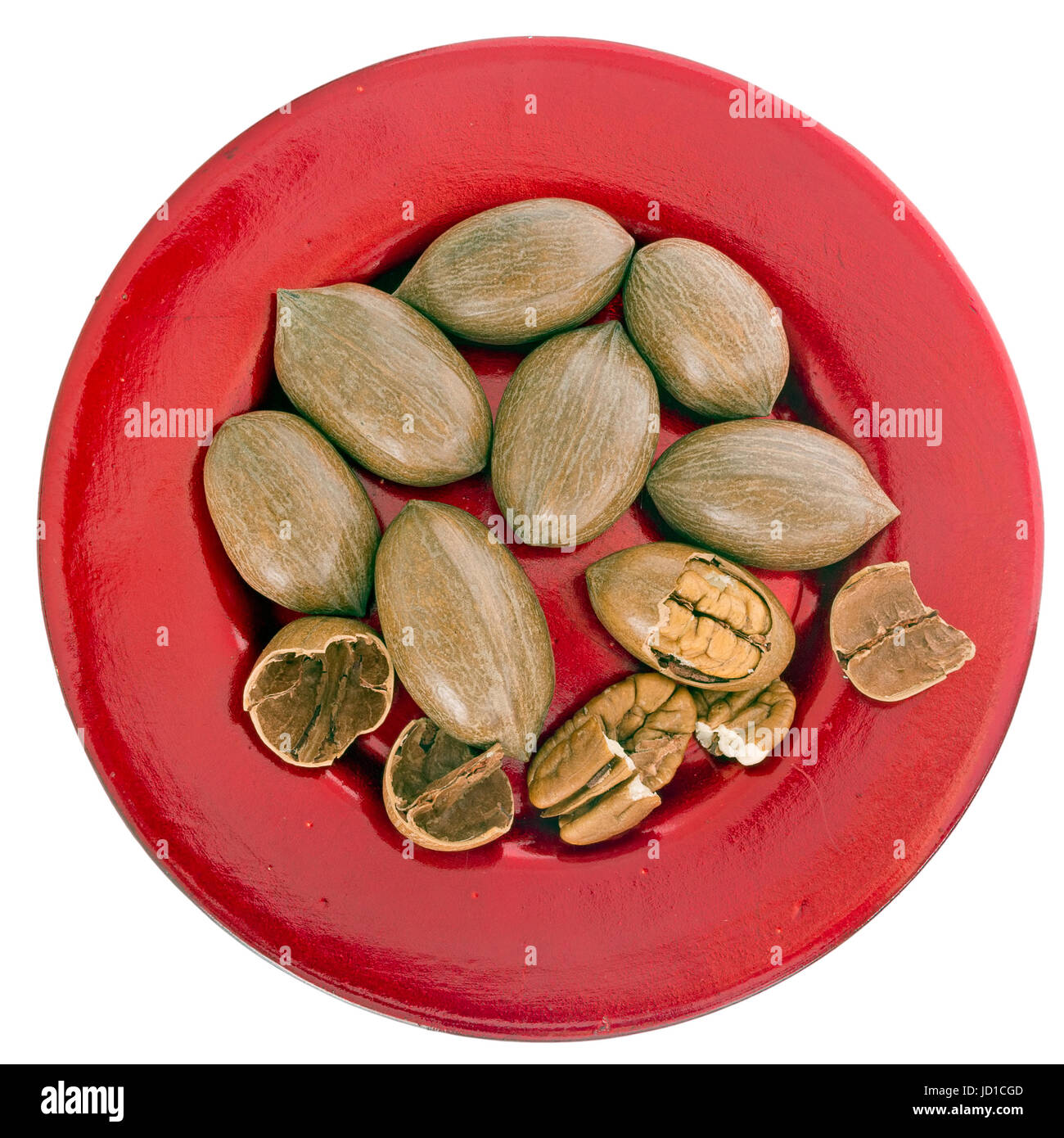 Pecan nuts. Full of healthy vitamins, minerals. Isolated on white. - Stock Image