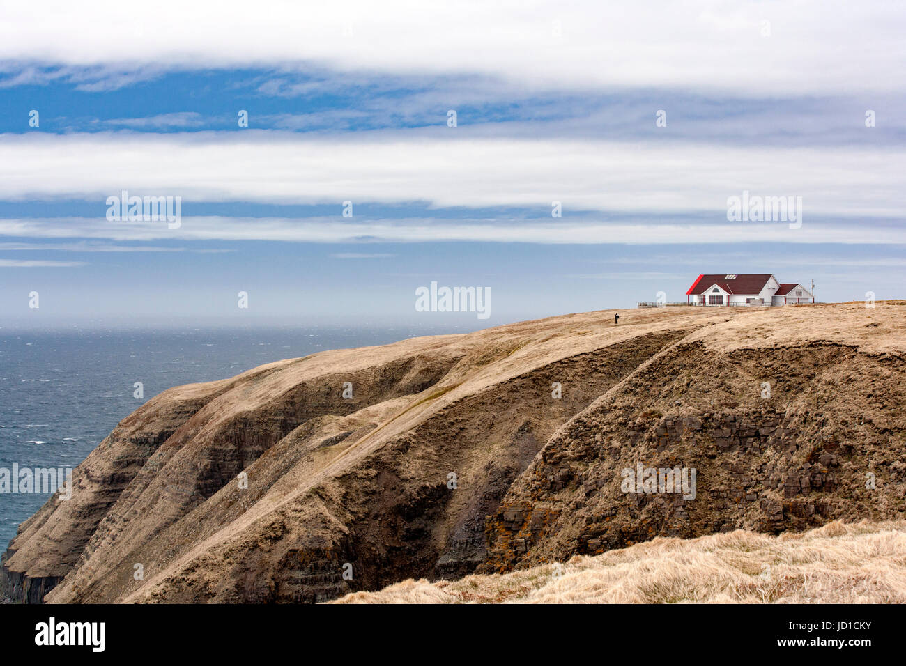 View of Interpretive Centre at Cape St. Mary's Ecological Reserve, Cape St. Mary's, Avalon Peninsula, Newfoundland, - Stock Image