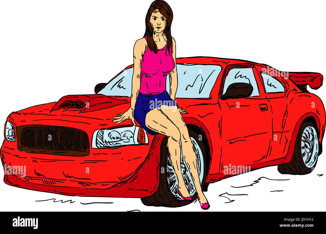 Isolated Colour Illustration Paint Draw Girl Girls Woman