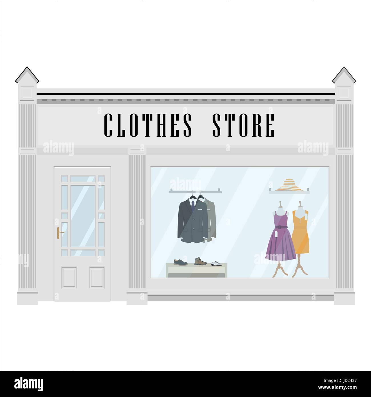 vector illustration cartoon dress shop icon street local boutique